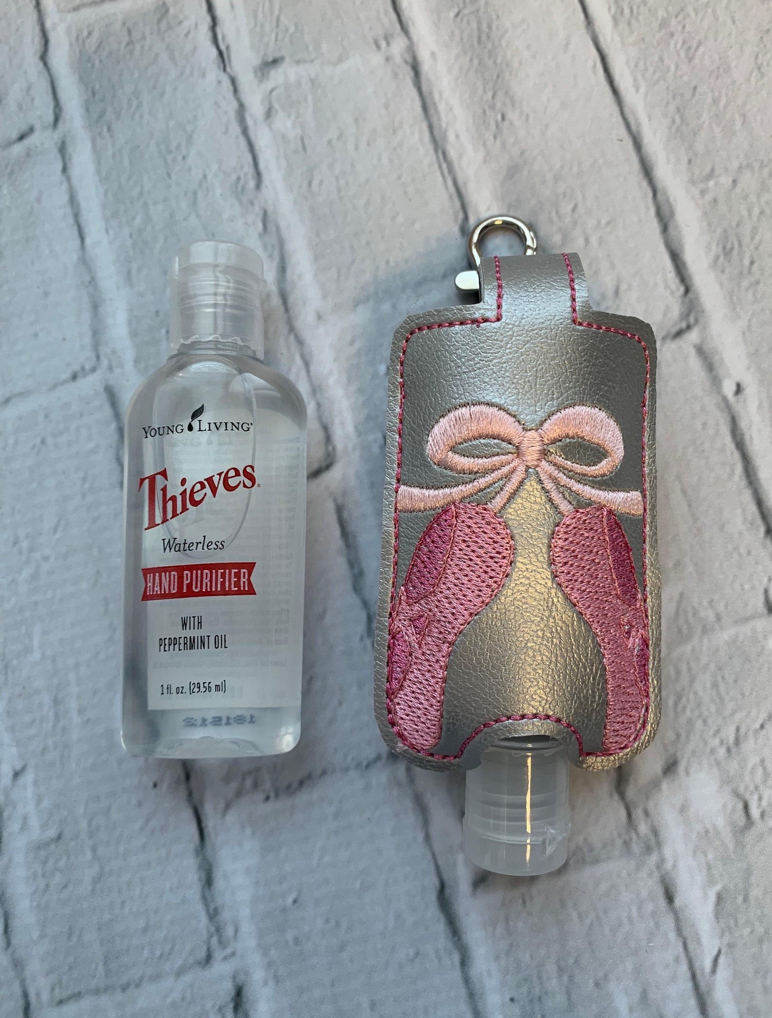 silver pink ballet shoes young living essential oil thieves hand sanitizer travel case holder birthday gift idea keychain key ch