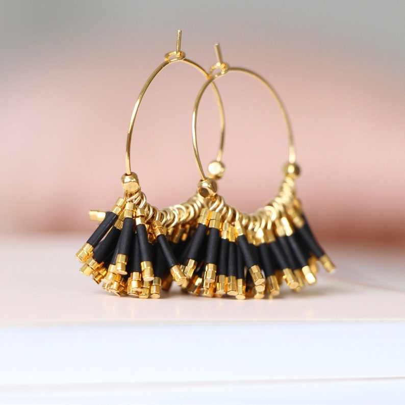 Gold Plated 24k Wedding Art Deco Miyuki Pearls Summer GATSBY Golden Creoles Fine Gold 24 carats B.O Black Mate Boho Chic Retro