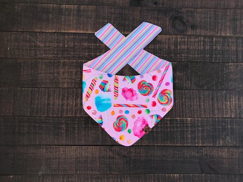 Cupcakes Cat Accessories Reversible,Pet Accessories Candyland Bandana Reversible Cotten Candy Lollipops Glitter Stripes Dog Bandana
