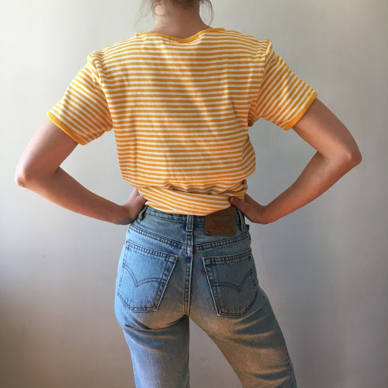 3609f7dfb3476 Vintage 90's sunflower yellow striped cotton t-shirt