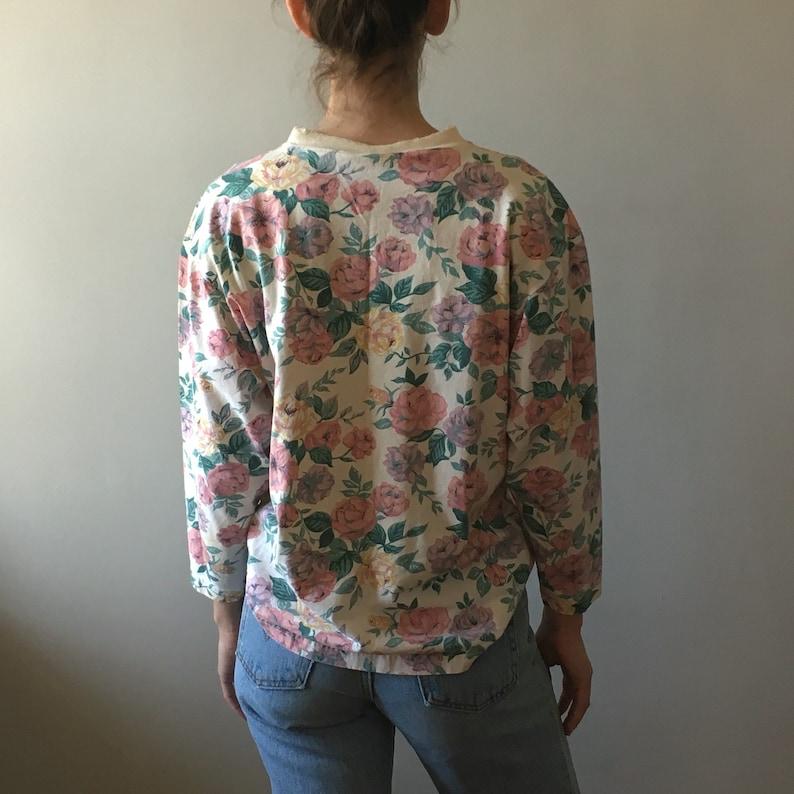 Vintage 90/'s long sleeve cotton floral crewneck top