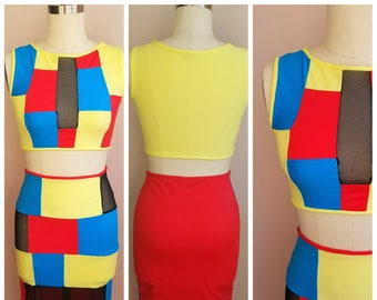 "Bodycon ""ELECTRIC"" 2 piece set color block crop top and skirt with mesh"