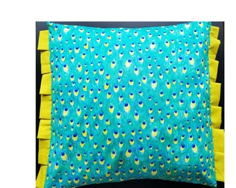 Bright colored envelope pillow cover with side pleats