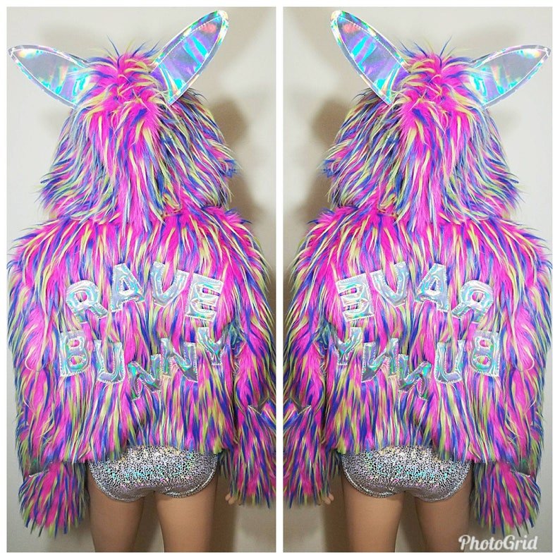 ac6601b1a8 Holographic custom lettering faux fur festival jacket with