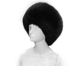Plain Black Fox Fur Ladies Beret Style Fall Winter Beanie Cossack Hat 33dcfdb72f4c