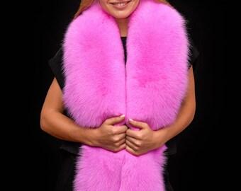 77bf333bcdd20 Saga Furs Fluorescent Neon Pink Shadow Fox Fur Shoulder Wrap Scarf Boa  Stole Collar