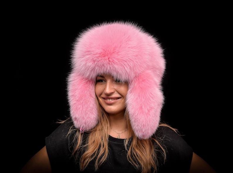 618f78d116996 Genuine Flamingo Pink Shadow Fox Fur Handmade Massive Bomber