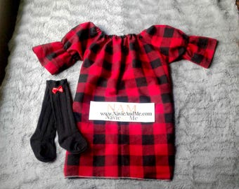 Red And Black Buffalo Plaid Dress| Baby Christmas Dress|Toddler Christmas Dress| Red Plaid Flannel Dress| Girls Christmas Dress| Plaid Dress