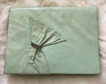 SIDONIE LARIZZI Paris Light Green Leather Vintage 1980's Purse Clutch