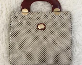 Vintage Whiting & Davis Bakelite and Mesh Handbag Purse Clutch in Cream and Brown, Circa 1960's