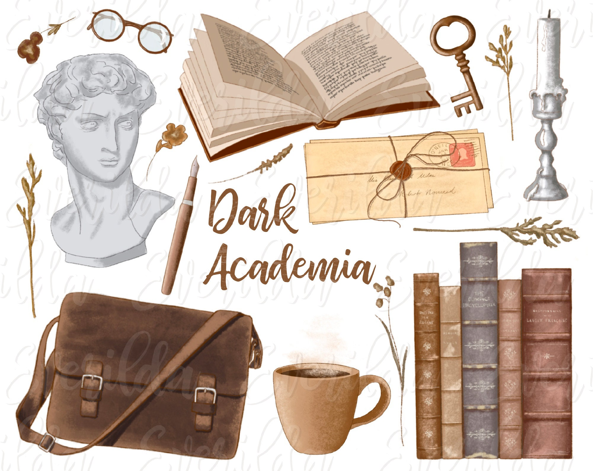 Dark academia aesthetic clip art hand drawn old fashioned | Etsy