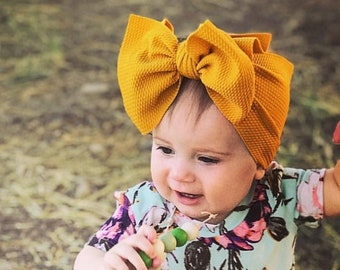Mustard Yellow Stretch Headwrap - infant baby girl child adjustable  stretchy soft headband big bow headband fe2d8833422