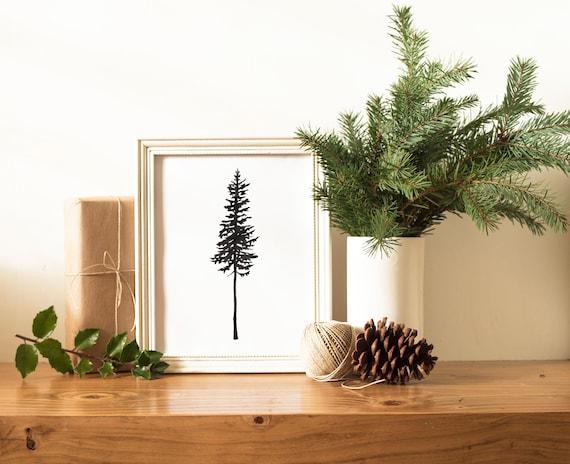 Sparse Christmas Tree Decorating.Pine Tree Silhouette Watercolor Print Sparse Christmas Tree Painting Evergreen Holiday Wall Art Scandinavian Black And White Decor