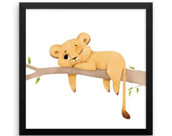 Animal Framed Nursery Print – Lion Cub