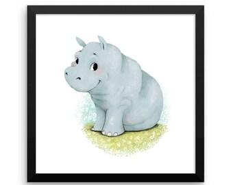 Animal Framed Nursery Print – Baby Hippo