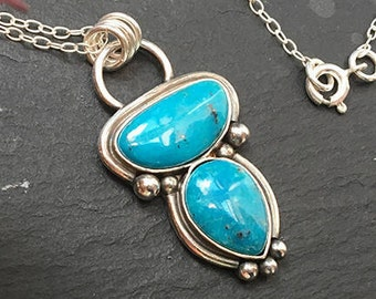 Two stone turquoise gemstone necklace, Turquoise bohemian necklace, Natural turquoise pendant, Turquoise sterling silver necklace