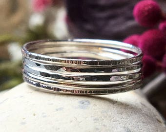 Skinny sterling silver stacking rings set of five, Delicate rings, Thin hammered rings, Simple rings, Stacking thumb rings, Minimalist rings