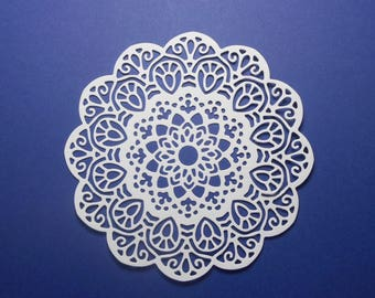 "Intricate Scallop Circle Doily Paper Die Cuts 4 1/8"" White Cardstock Paper Doily Scrapbooking Card Making Embellishment - 6 pc"
