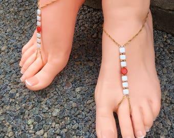 Handmade foot jewelry, one pair
