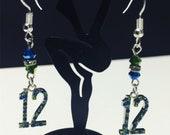 Seahawks 12th Man Earrings Sterling Silver.925