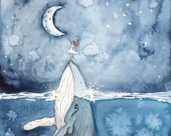 Humpback Whale Print, Moon Print, Sea Wall Decor, Whale Art, Whale Nursery, Girl Painting, Framed Decor, Whale Painting, Ocean Wall Artwork