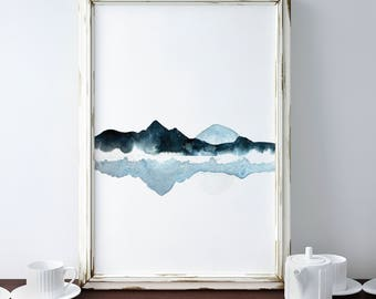 Mountains Lake Painting, Blue Abstract Landscape Print, Blue Mountain, Mountain Print, Lake Reflection Art, Framed Prints, Minimalistic Art
