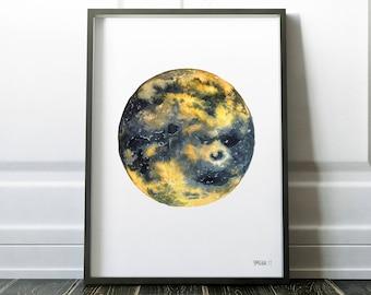 Moon Print, Blue Moon Painting, Yellow Moon Print, Large Framed Poster, Moon Home Decor, Minimalistic Moon, Lunar Print, Dark Full Moon Art