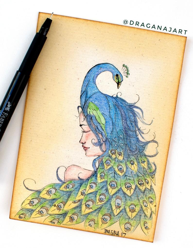 Peacock Girl Original Artwork, Woman Drawing, Peacock Drawing, Antique  Paper, Italian Paper, Blue Wall Artwork, Surreal Art, Bird Decor