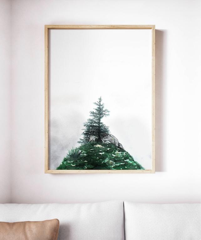 Lone Pine Tree Modern Art Print Mountain Art Large Framed | Etsy
