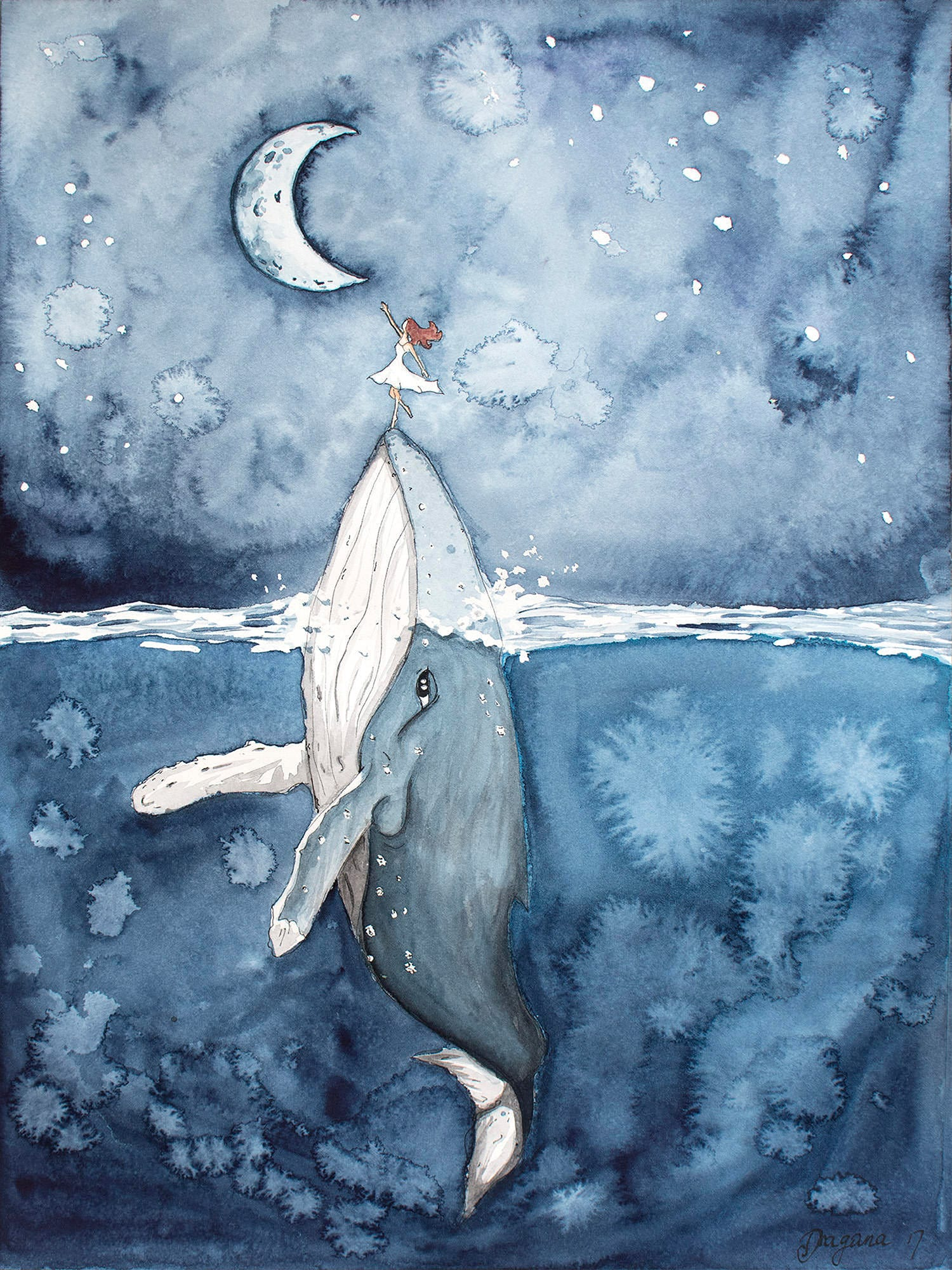Humpback Whale Print Moon Print Sea Wall Decor Whale Art