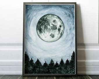 Moon Print, Forest Painting, Full Moon Print, Large Framed Poster, Green Home Decor, Nursery Decor, Lunar Print, Green Moon Print Forest Art