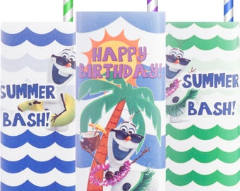 Frozen; Girly Olaf; Olaf Summer Party; Juice Box Wrappers; Olaf Summer Party; Olaf Summer Birthday Party Printed, Cut,  Shipped to you!