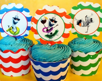 Frozen; Olaf; Olaf Summer Party; Cupcake Wrappers; Olaf Summer Party; Olaf Summer Birthday Party Printed, Cut,  Shipped to you!