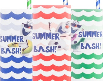 Frozen; Olaf; Olaf Summer Party; Juice Box Wrappers; Olaf Summer Party; Olaf Summer Birthday Party Printed, Cut,  Shipped to you!