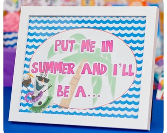 Frozen; Girly Olaf; Olaf Summer Party; Signs; Olaf Summer Party; Olaf Summer Birthday Party Printed, Cut,  Shipped to you!