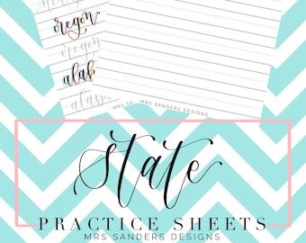 States Brush Lettering Worksheets, Calligraphy Lettering Guide, Lettering Practice Sheet, Printable Lettering Practice Sheet