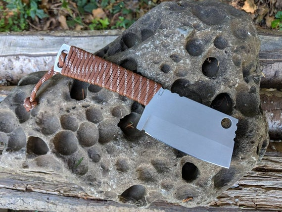 Mid size stainless EDC Cleaver. AEB-L custom handmade fixed blade bushcraft chopper