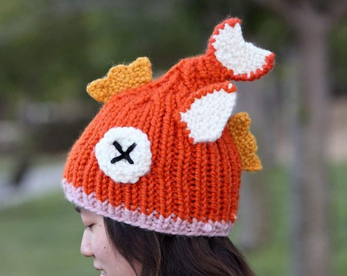 Featured listing image: Magikarp hand knitted hat (Pokemon Go inspired)
