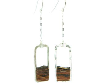 Hand-cut ponderosa pine bark earring framed with hand-forged 14k gold-fill or sterling silver. Unique natural wood earring.