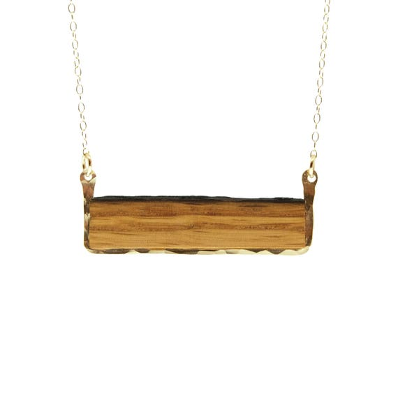 Handmade pendant necklace with repurposed oak barrel and precious metal Reclaimed oak barrel framed with 14k gold fill or sterling silver