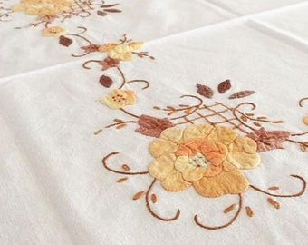 vintage linen Tablecloth with hand embroidery