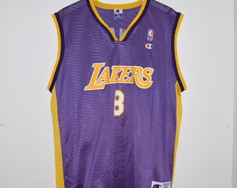 29c4f1cea19 Vintage 90 s Champion Kobe Bryant  8 LA Lakers Basketball Jersey Purple  Large 44