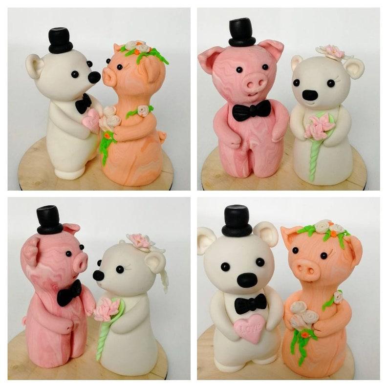 Cutest Wedding Cake Toppers.Pig Bear Cake Topper Wedding Animal Clay Cake Topper Cute Wedding Cake Decor Rustic Farm Wedding Woodland Cake Topper Pig Bear On The Cake