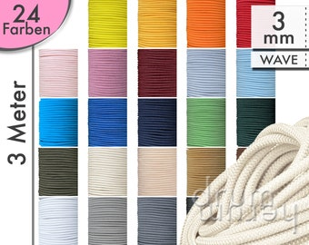 3 m (40 ct/meter) rubber cord 3 mm WAVE elastic cord