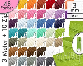 3 m + 10 Zipper 3mm zipper BASIC, red, yellow, blue, black, white, grey, green, silver, beige, pink, pink, purple, natural, brown