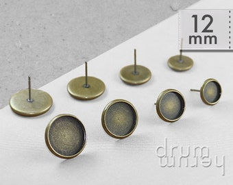10 / 50 / 250 studs 12 mm socket cabochons, blanks, Earstud, incl. silicone clasp - colour: antique bronze, bronze