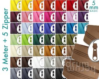 3m + 5 zipper 5mm endless zipper BASIC, red, yellow, blue, black, white, grey, green, beige, pink, pink, purple, natural, brown