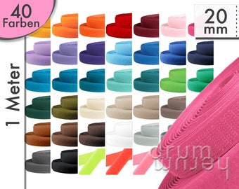 Velcro complete 20 mm hook and fluff side - yellow, red, green, blue, black, grey, white, orange, brown, grey, cream, beige, natural