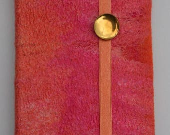 Felted notebook cover, A6, pink, orange, wool, silk, hand felted, book cover, unique from the felthouse16