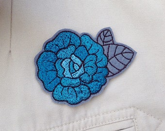 Blue rose patch Iron on rose Embroidered flower patch Rose patches for jackets